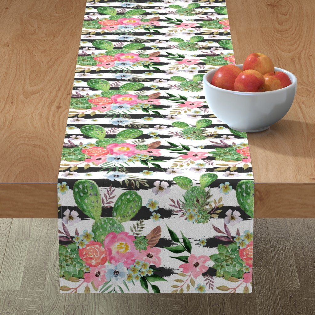 Minorca Table Runner featuring Cactus and floral Strips background by teart