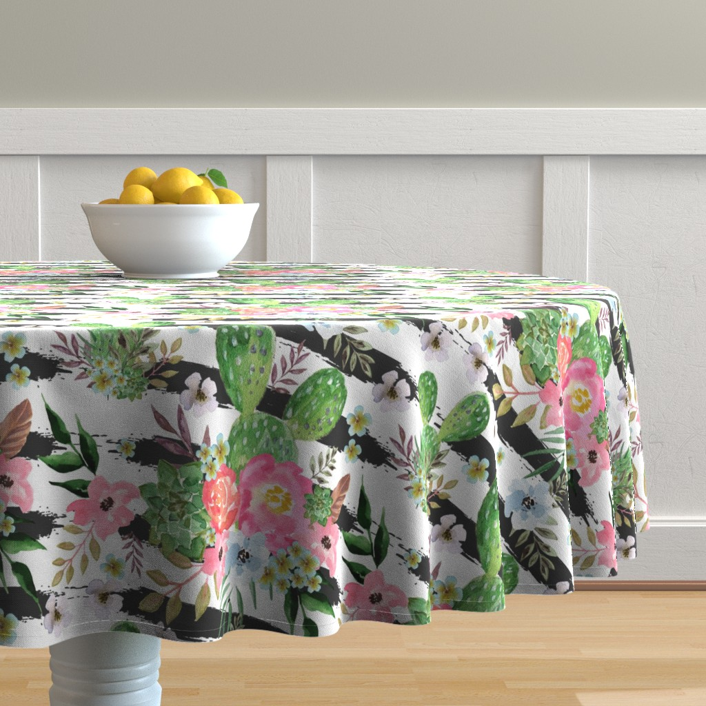 Malay Round Tablecloth featuring Cactus and floral Strips background by teart