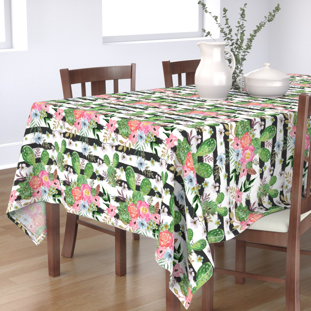 Bantam Rectangular Tablecloth featuring Cactus and floral Strips background by teart