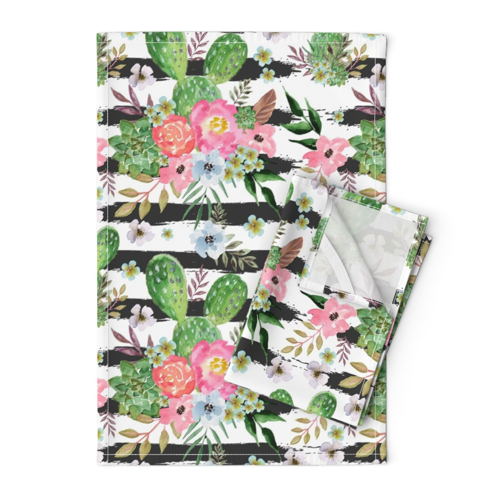 Orpington Tea Towels featuring Cactus and floral Strips background by teart