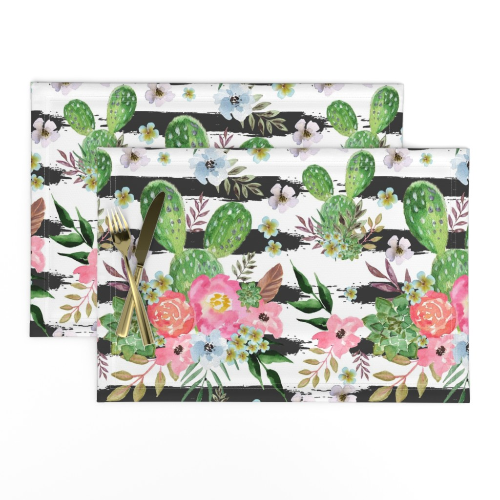 Lamona Cloth Placemats featuring Cactus and floral Strips background by teart