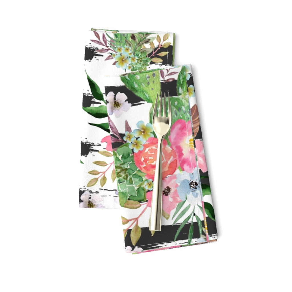 Amarela Dinner Napkins featuring Cactus and floral Strips background by teart