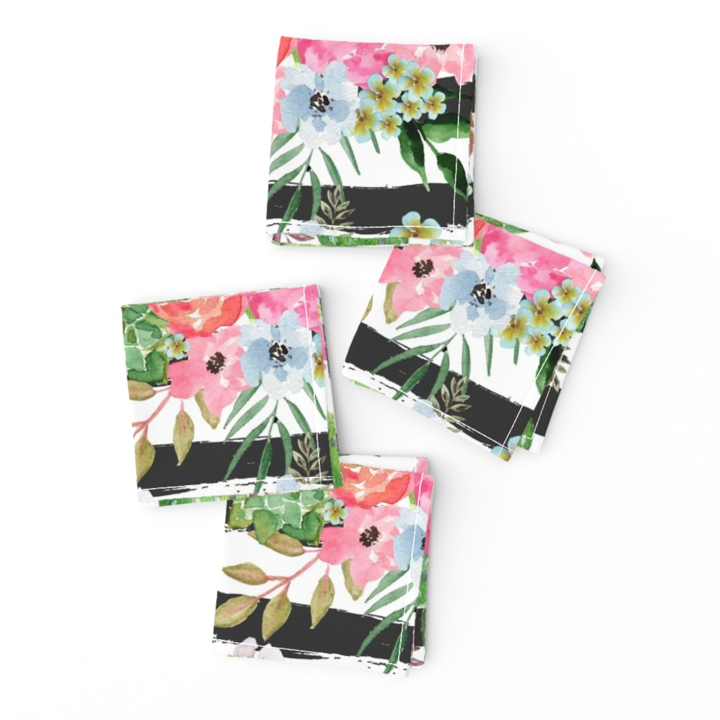 Frizzle Cocktail Napkins featuring Cactus and floral Strips background by teart