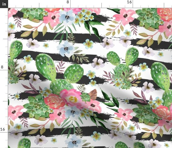 Fabric by the Yard Cactus and floral Strips background