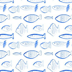 Nautical Blue Fish Watercolor || Royal Sky Ocean Water Sea Scales Animal _ Miss Chiff Designs