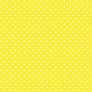 White polka dots on yellow