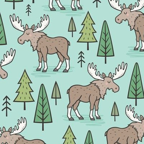 Forest Woodland Moose & Trees on Mint Green