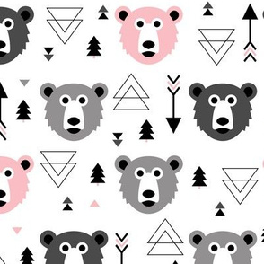 Geometric grizzly bear woodland illustration pattern pink