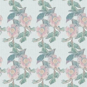 17-04C Distressed Antique Linen Floral Stripe || Flower pink jade green chambray french blue france