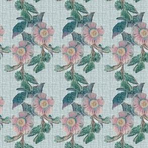 17-04B  Antique Linen Floral Stripe || Flower Pink Jade Green Blue France French