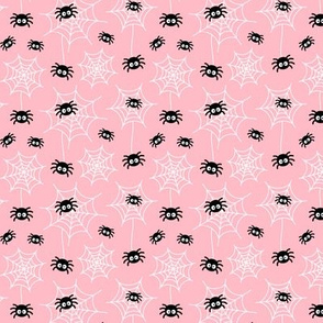 tiny spiders and webs on light baby pink » halloween