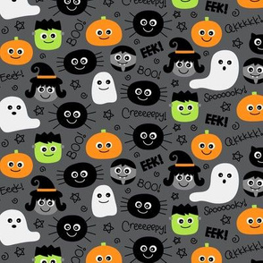 tiny halloween cuties on dark grey