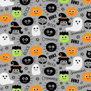 tiny halloween cuties on light grey