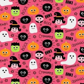 tiny halloween cuties on hot pink