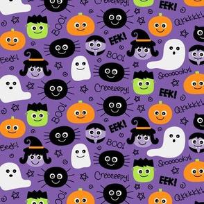 tiny halloween cuties on purple