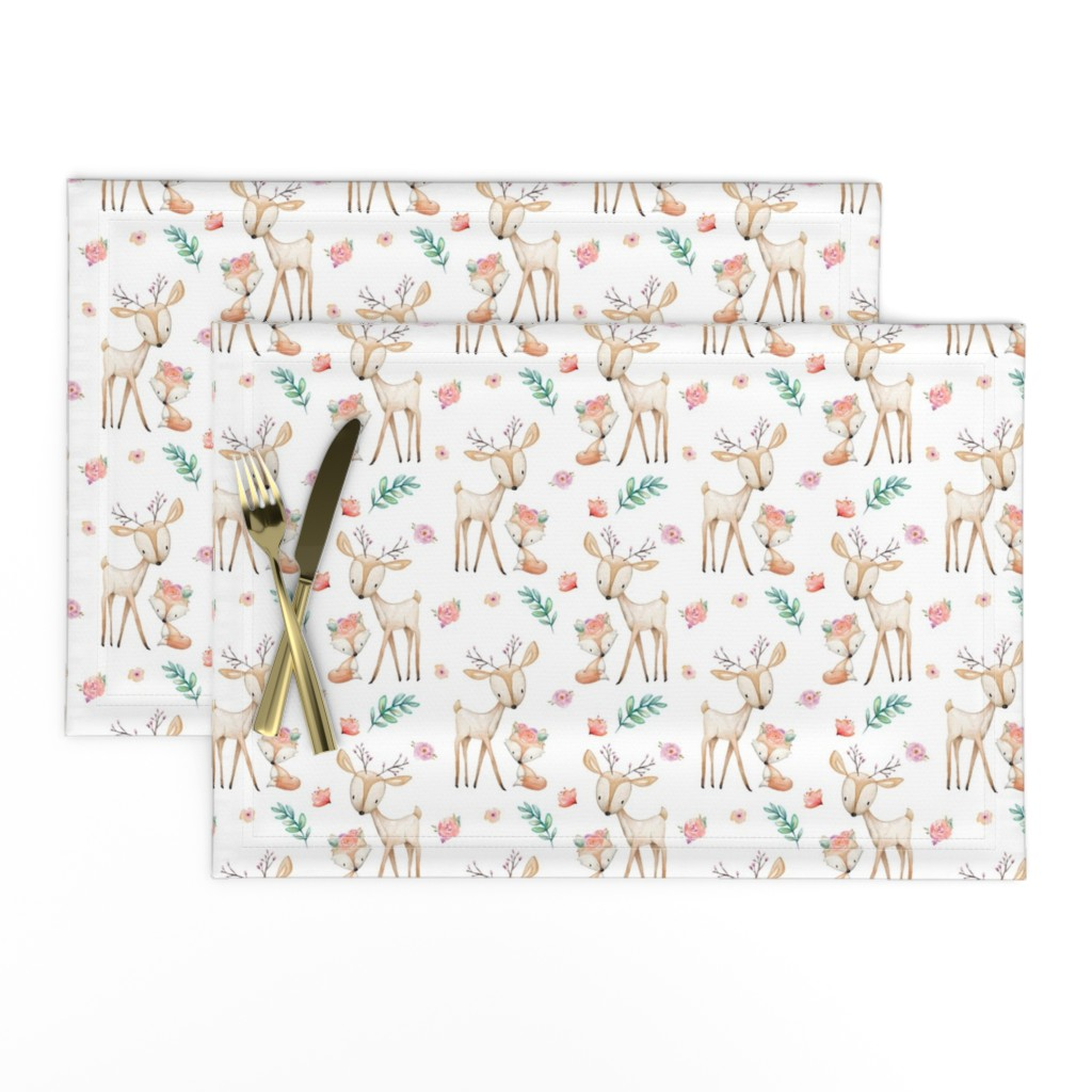 Lamona Cloth Placemats featuring Sweet Deer & Fox - Coral Flowers Woodland Animals Baby Girl Nursery Bedding by gingerlous
