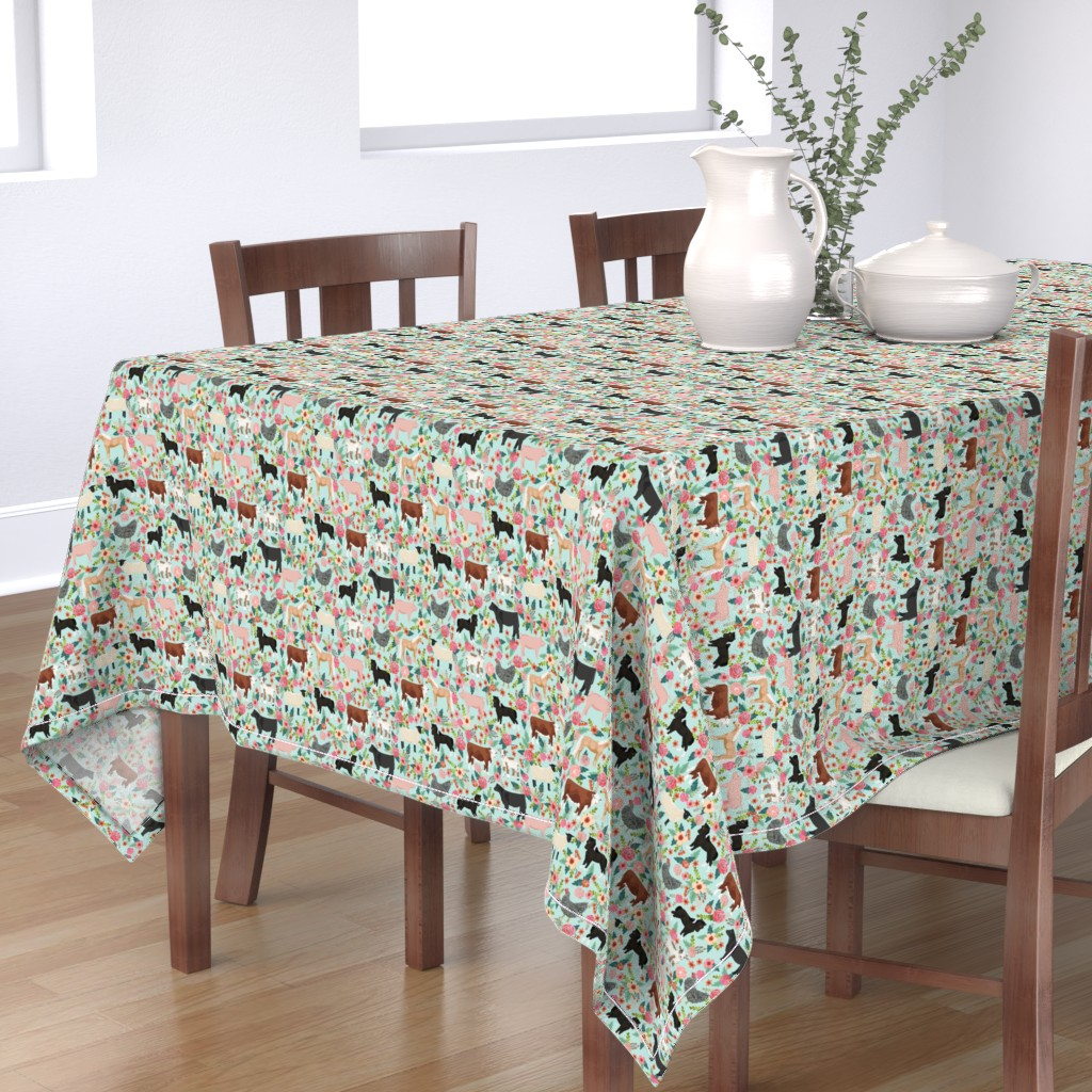 Bantam Rectangular Tablecloth featuring Farm animals cow sheep goat chicken floral fabric mint by petfriendly