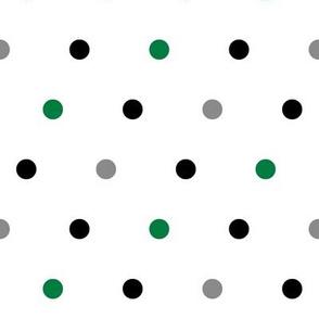 large polka dots || green and black farm coordinate