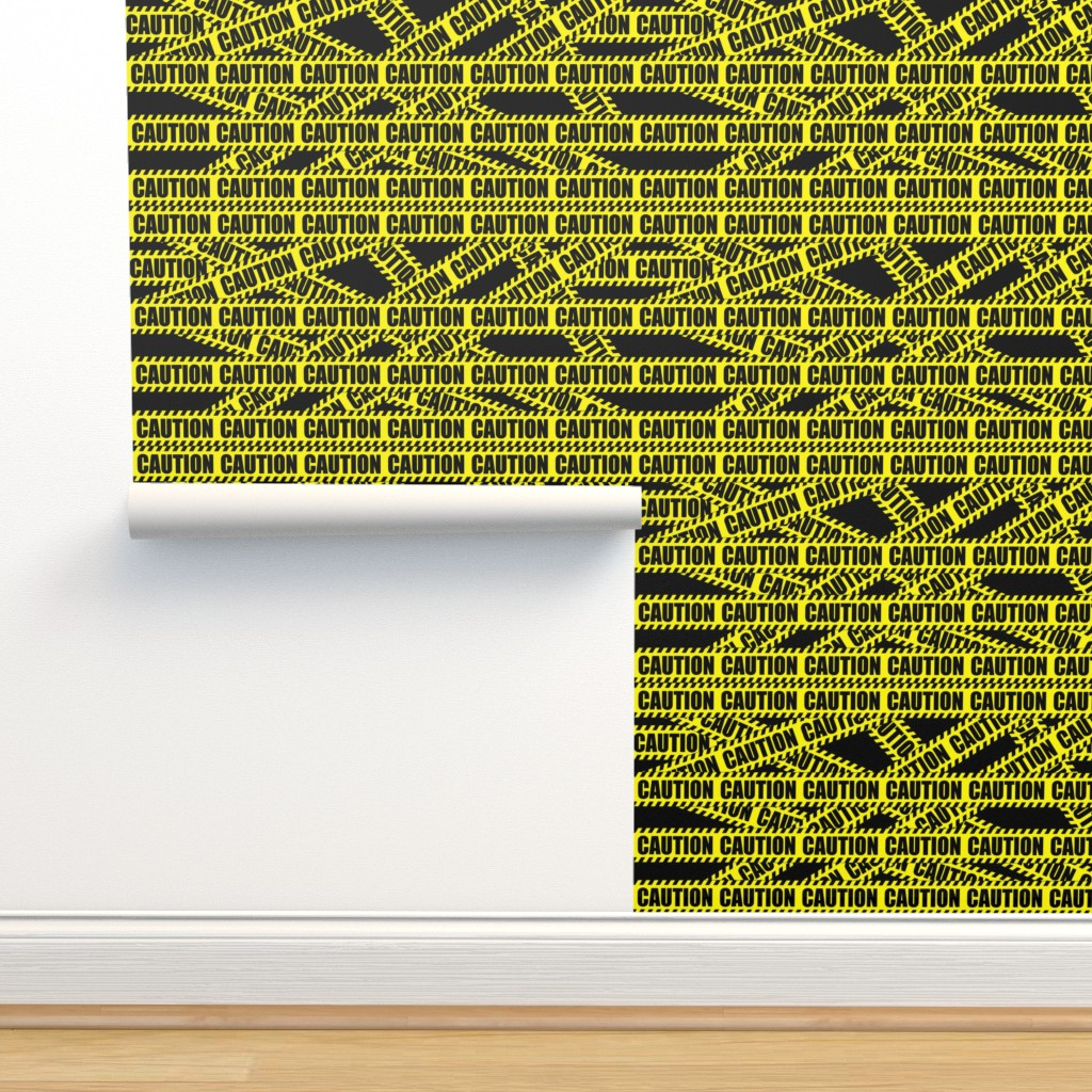 Isobar Durable Wallpaper featuring 2 caution barricade construction notice warning danger hazard barrier police firefighter tape diagonal stripes life sized pop art novelty  by raveneve