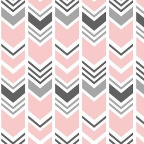 chevron - pink and grey