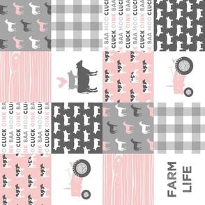 farm life wholecloth - woodgrain - pink and grey farm fabrics (90)