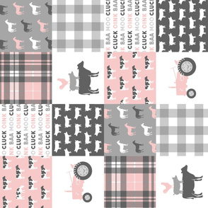farm life wholecloth patchwork with plaid - pink and grey (90)