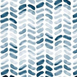 Navy Blue Watercolor Herringbone, vertical