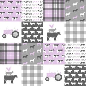 farm life wholecloth  - purple plaid