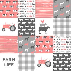 farm life wholecloth - pink coral woodgrain
