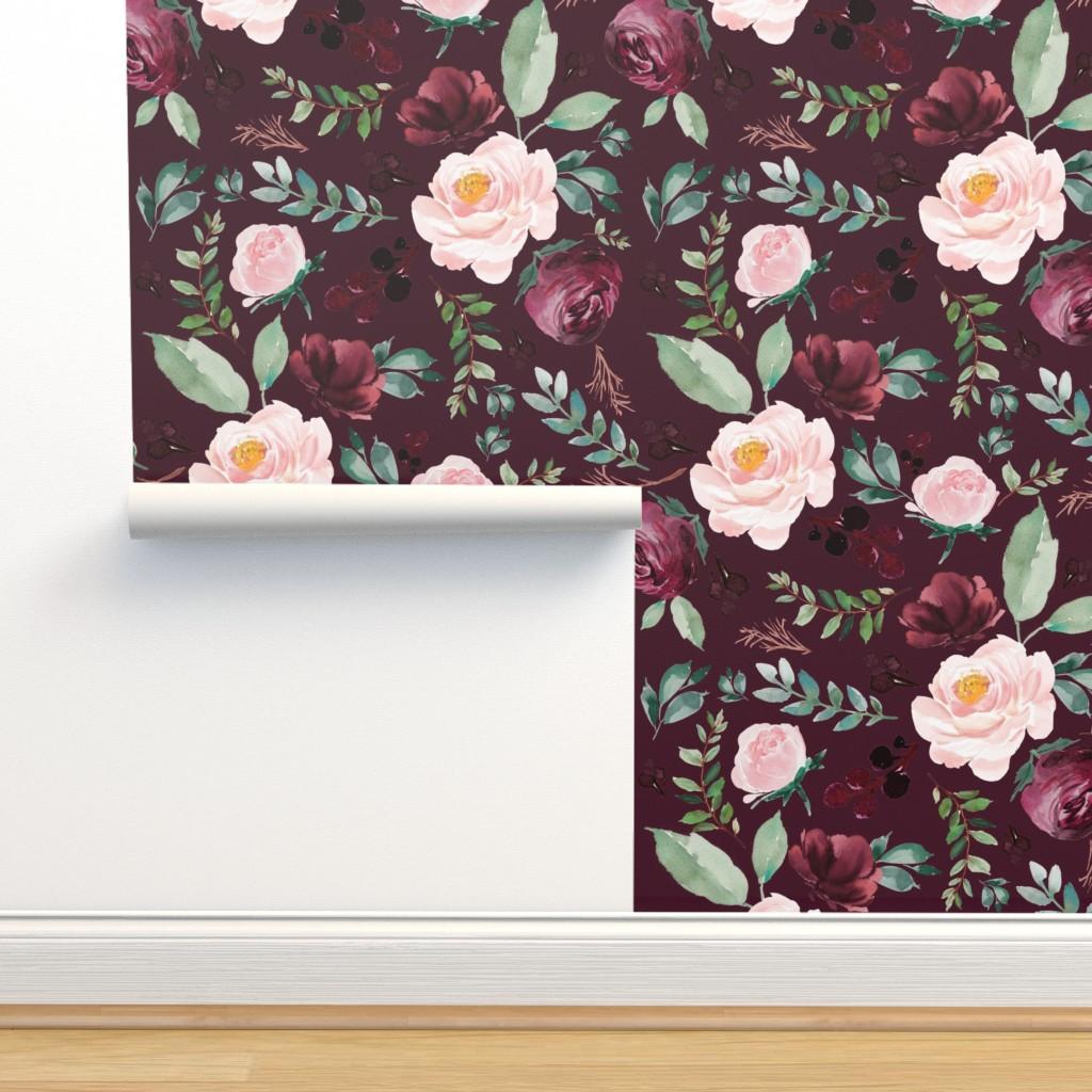 "Isobar Durable Wallpaper featuring 8"" Wild at Heart Florals / Dark Crimson by shopcabin"