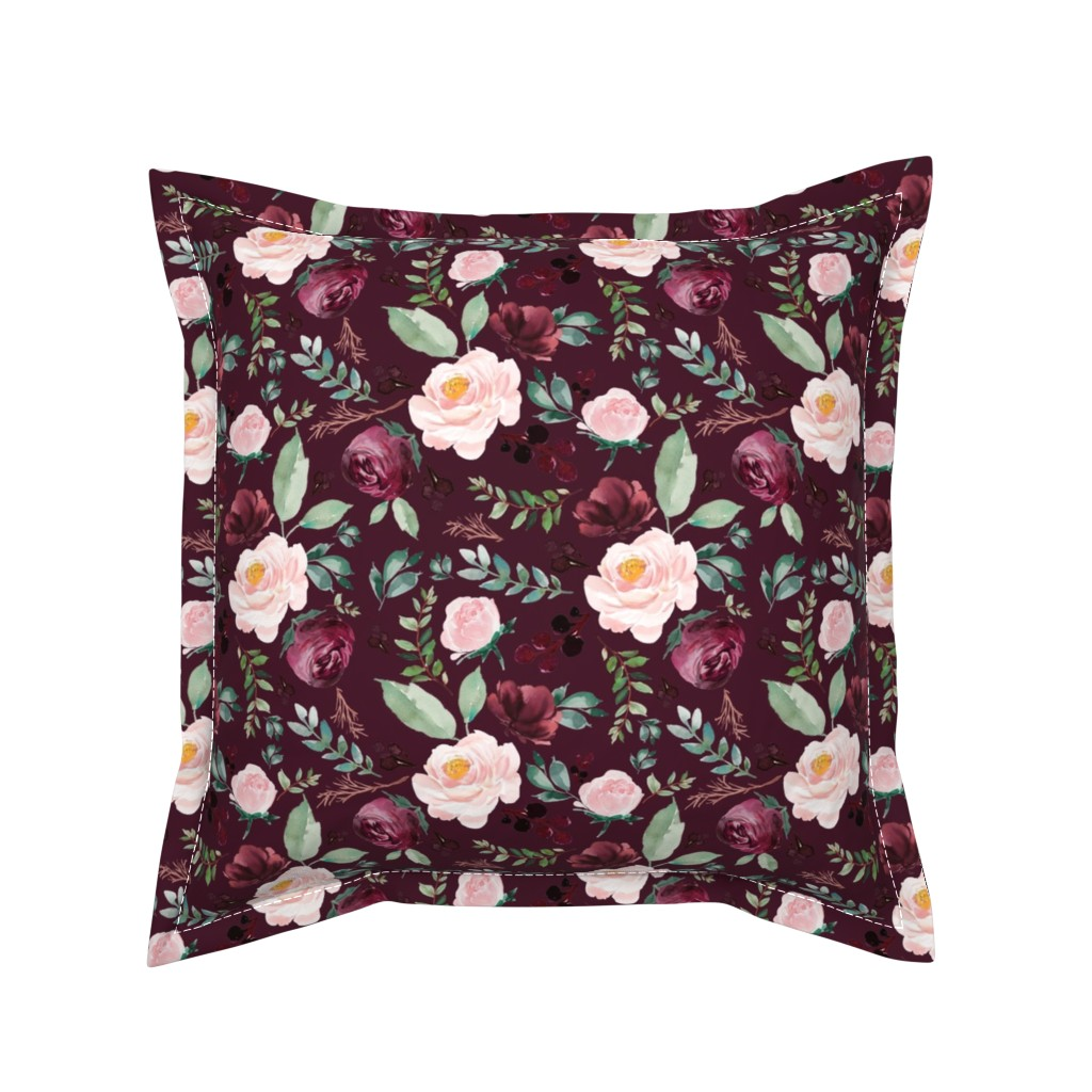 "Serama Throw Pillow featuring 8"" Wild at Heart Florals / Dark Crimson by shopcabin"