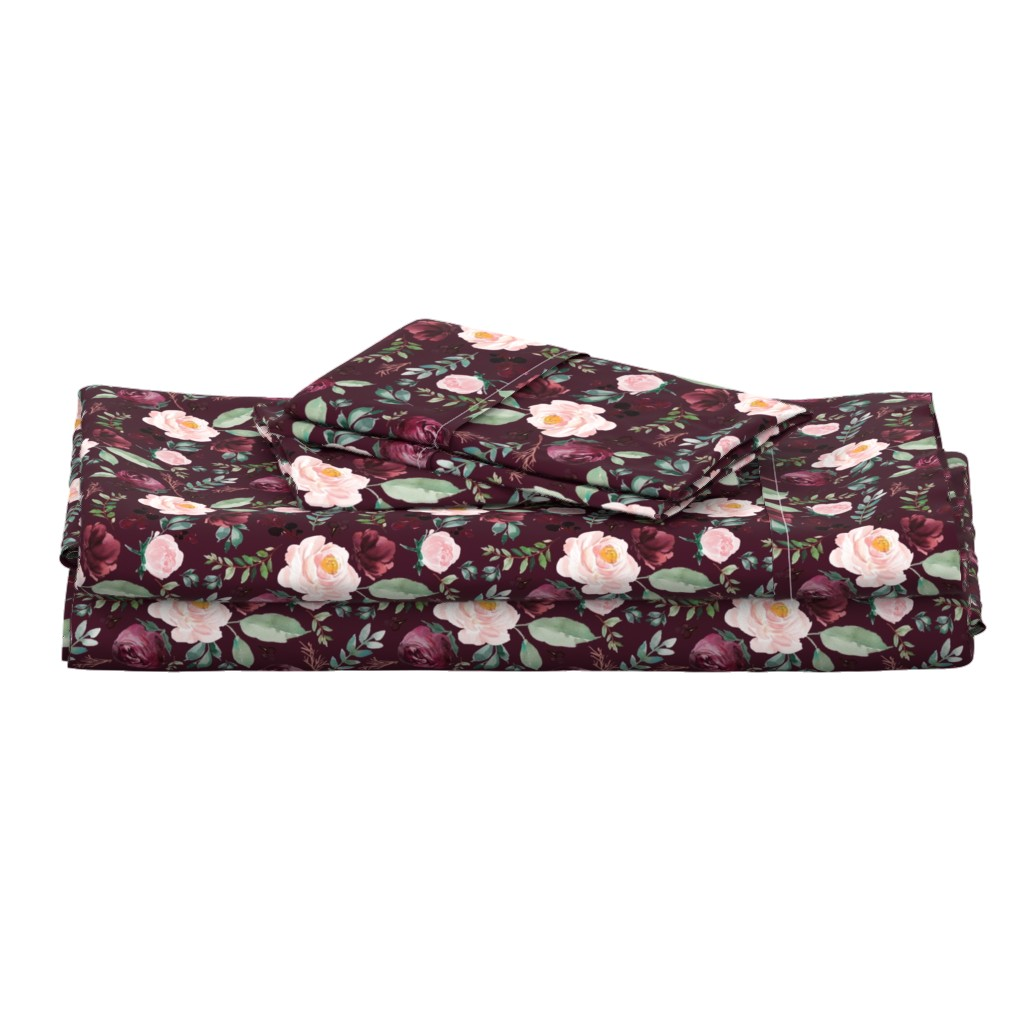 "Langshan Full Bed Set featuring 8"" Wild at Heart Florals / Dark Crimson by shopcabin"