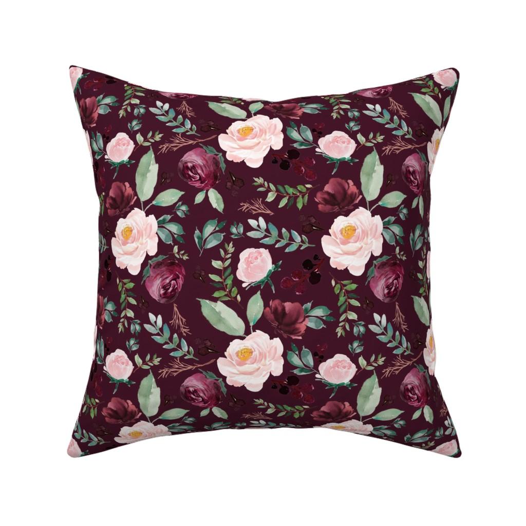"Catalan Throw Pillow featuring 8"" Wild at Heart Florals / Dark Crimson by shopcabin"