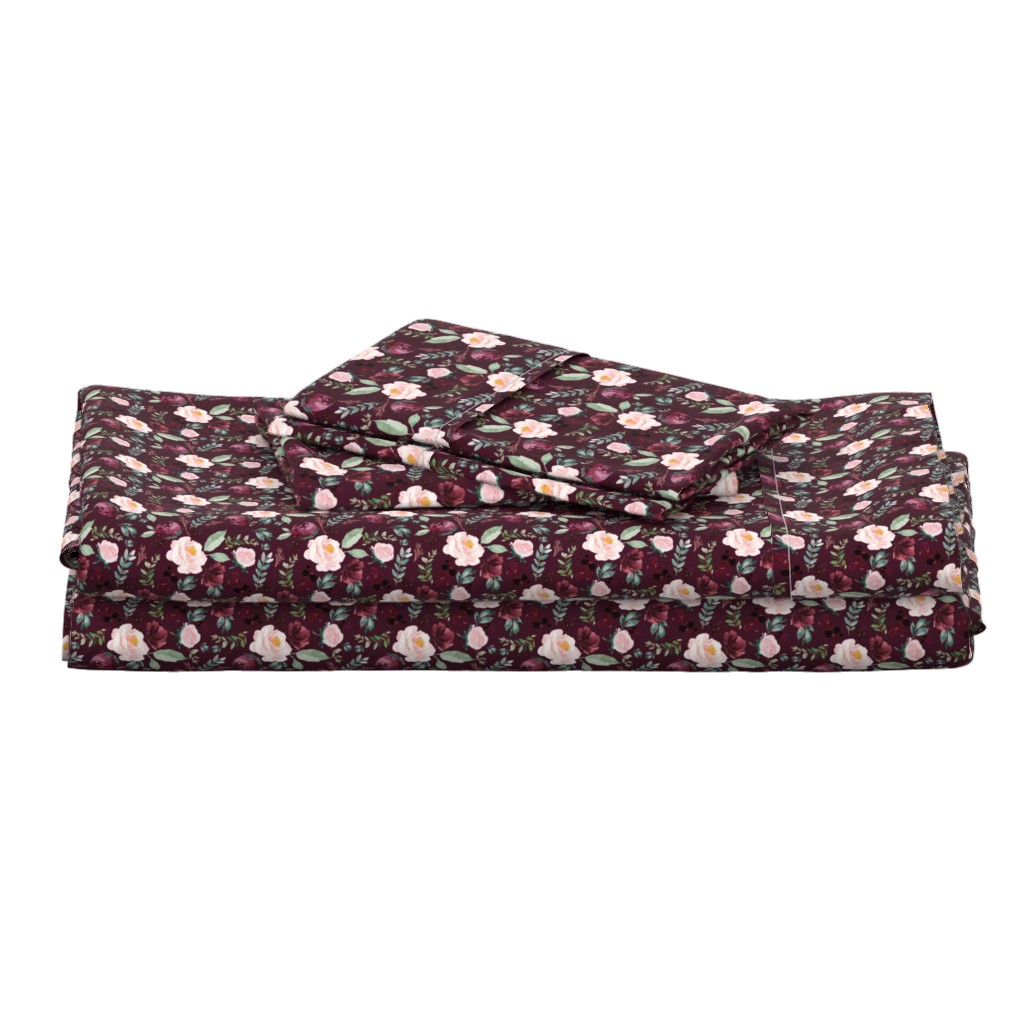 """Langshan Full Bed Set featuring 4"""" Wild at Heart Florals / Dark Crimson by shopcabin"""