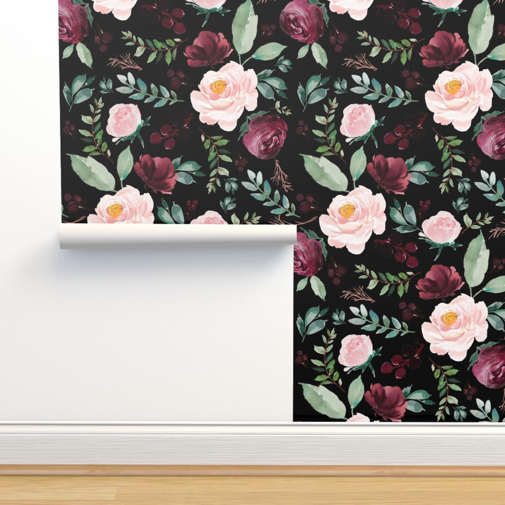 """Isobar Durable Wallpaper featuring 8"""" Wild at Heart Florals / Black by shopcabin"""
