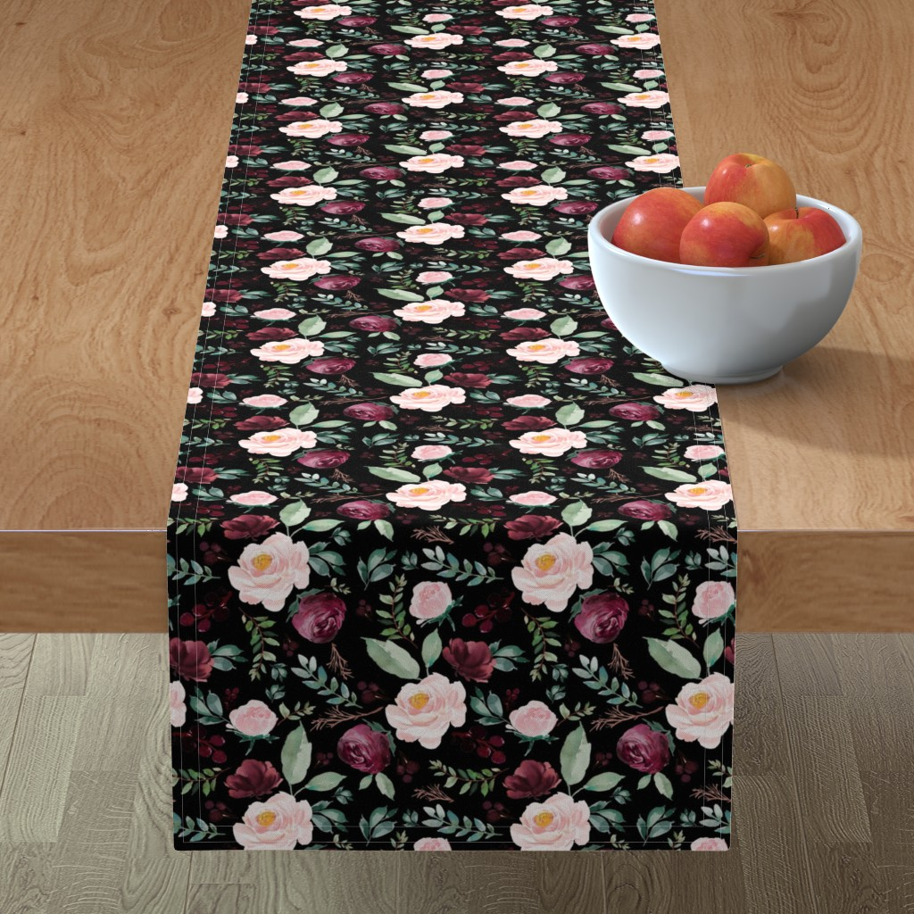 "Minorca Table Runner featuring 8"" Wild at Heart Florals / Black by shopcabin"