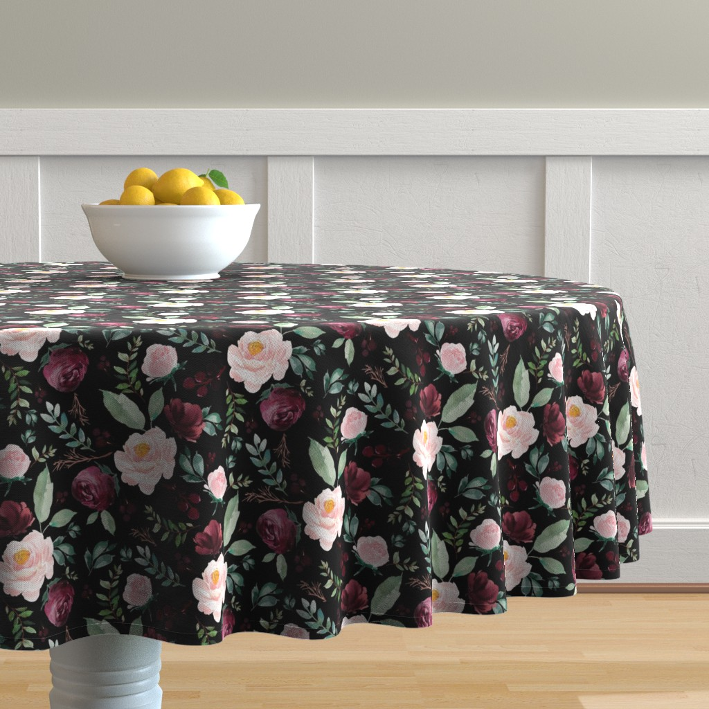"Malay Round Tablecloth featuring 8"" Wild at Heart Florals / Black by shopcabin"