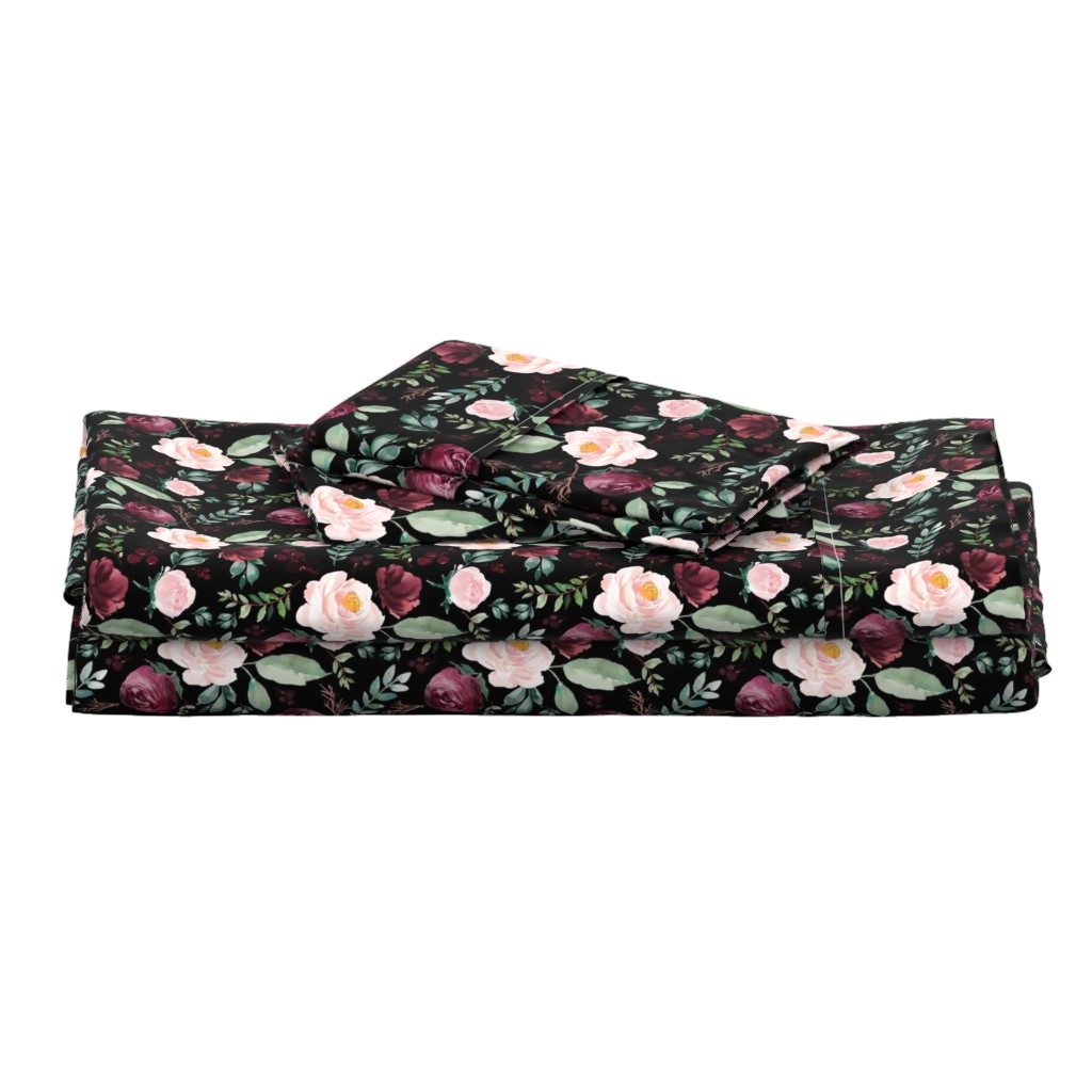 """Langshan Full Bed Set featuring 8"""" Wild at Heart Florals / Black by shopcabin"""
