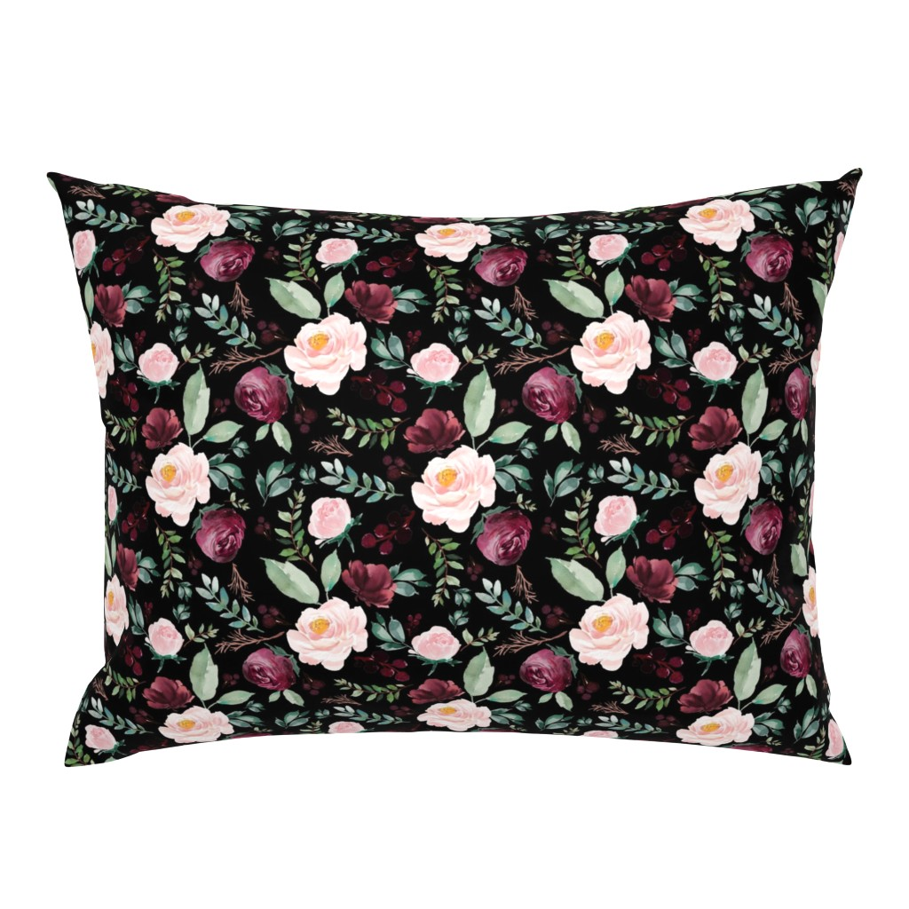 """Campine Pillow Sham featuring 8"""" Wild at Heart Florals / Black by shopcabin"""