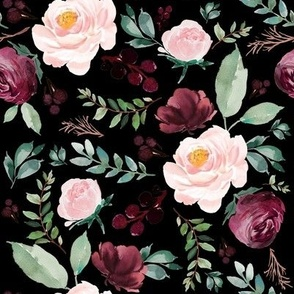 """8"""" Wild at Heart Florals / Black"""