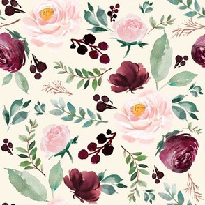 """8""""  Wild at Heart Florals / Ivory"""