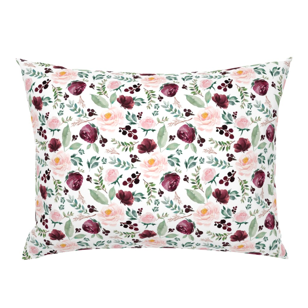 "Campine Pillow Sham featuring 8"" Wild at Heart Florals / White by shopcabin"