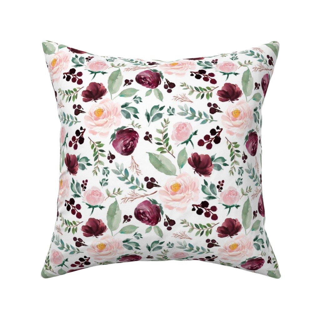 "Catalan Throw Pillow featuring 8"" Wild at Heart Florals / White by shopcabin"