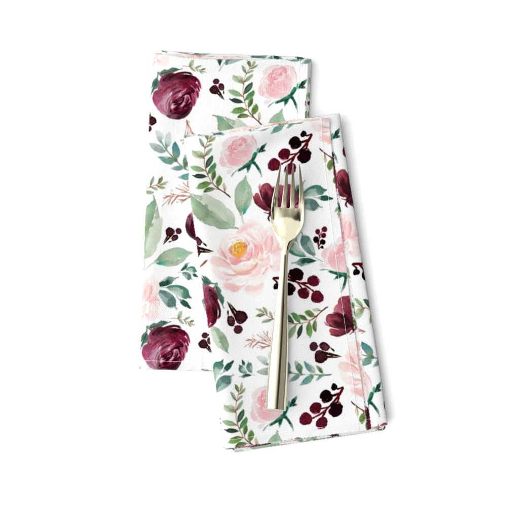 "Amarela Dinner Napkins featuring 8"" Wild at Heart Florals / White by shopcabin"