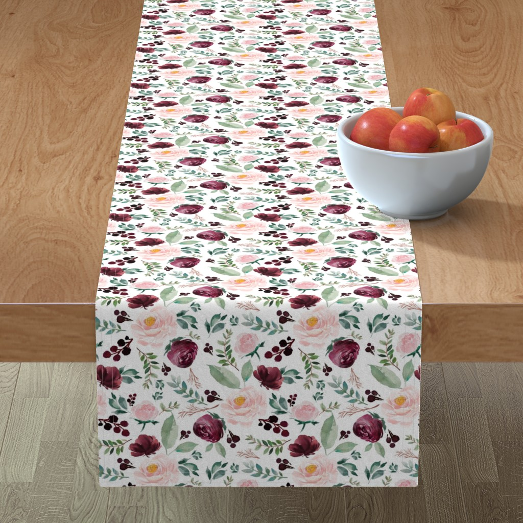 "Minorca Table Runner featuring 8"" Wild at Heart Florals / White by shopcabin"