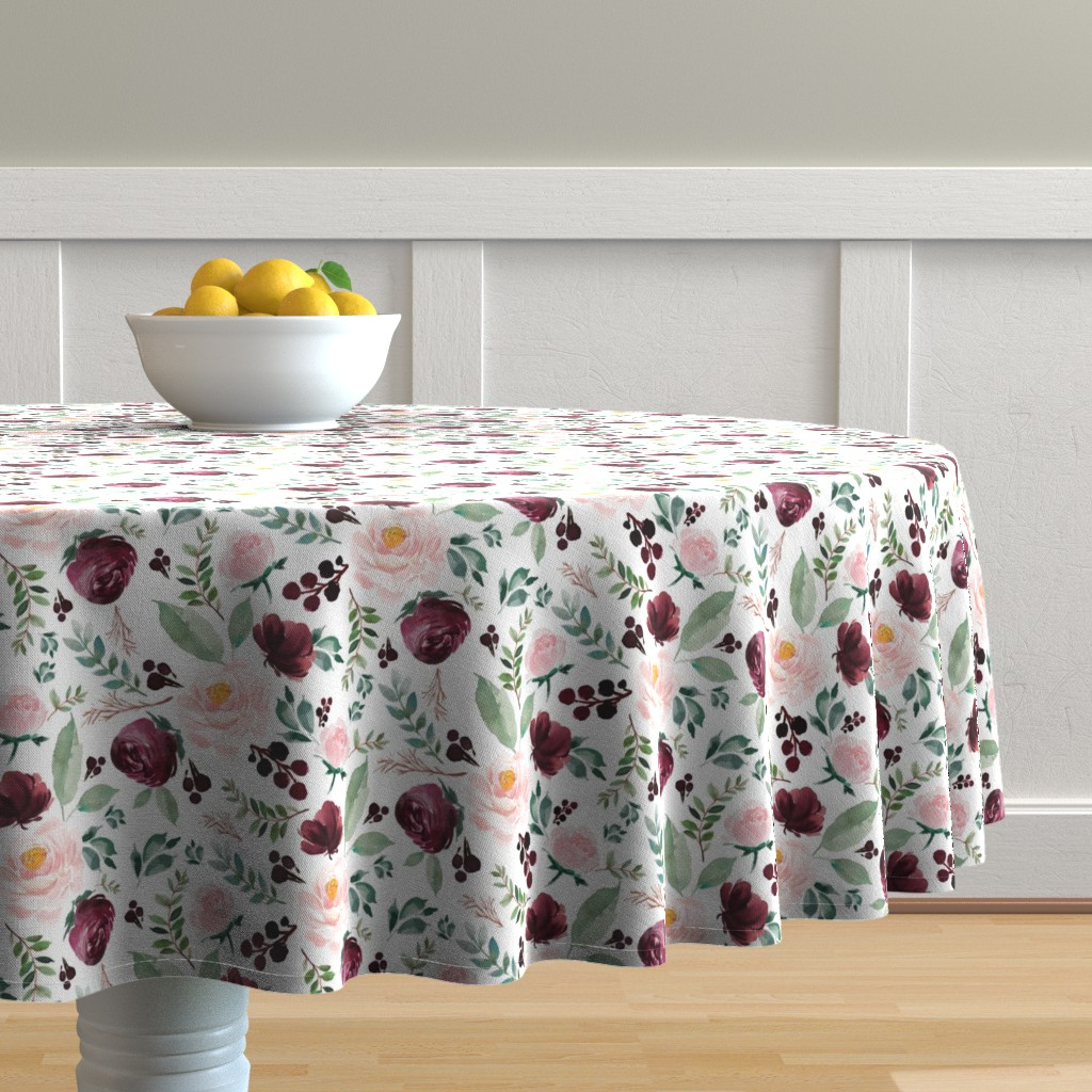 "Malay Round Tablecloth featuring 8"" Wild at Heart Florals / White by shopcabin"