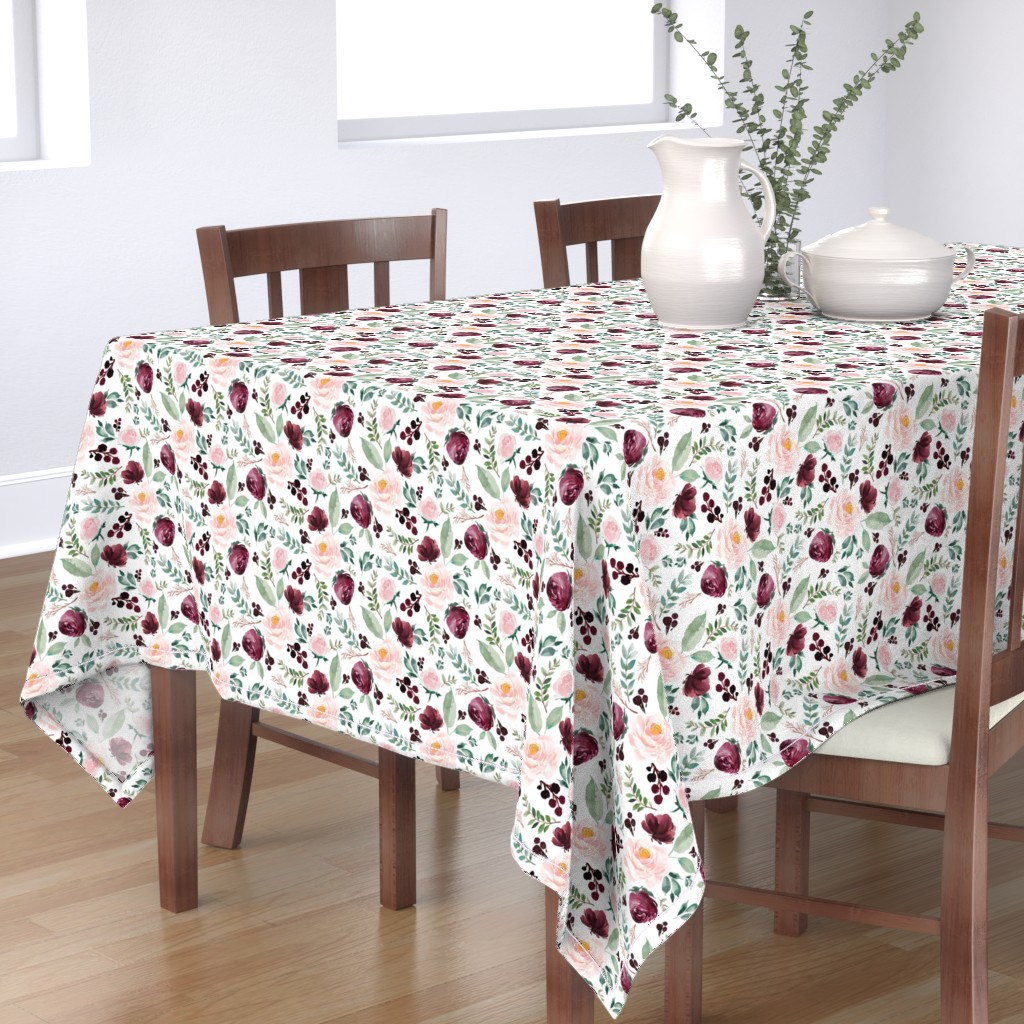 "Bantam Rectangular Tablecloth featuring 8"" Wild at Heart Florals / White by shopcabin"