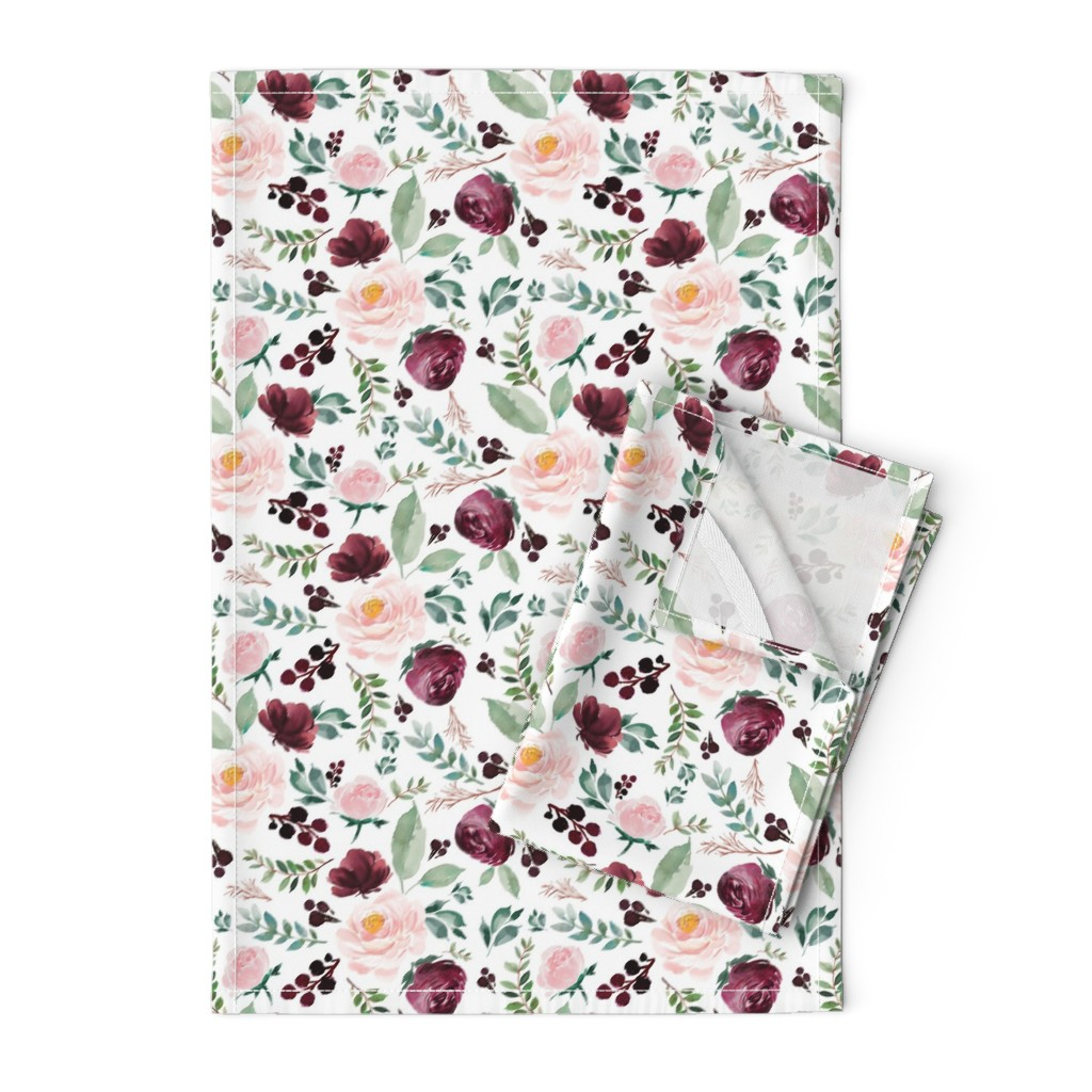 "Orpington Tea Towels featuring 8"" Wild at Heart Florals / White by shopcabin"