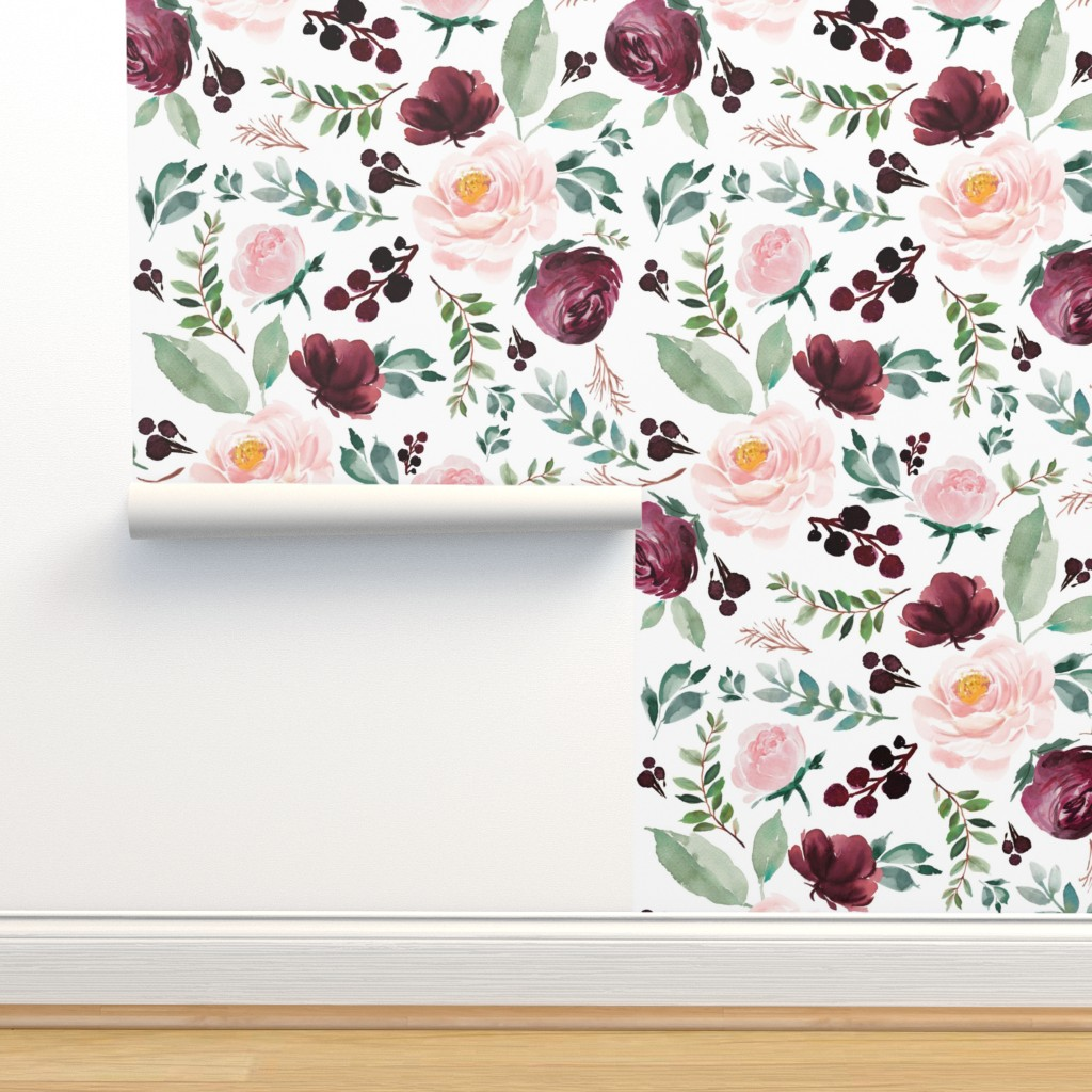 "Isobar Durable Wallpaper featuring 8"" Wild at Heart Florals / White by shopcabin"