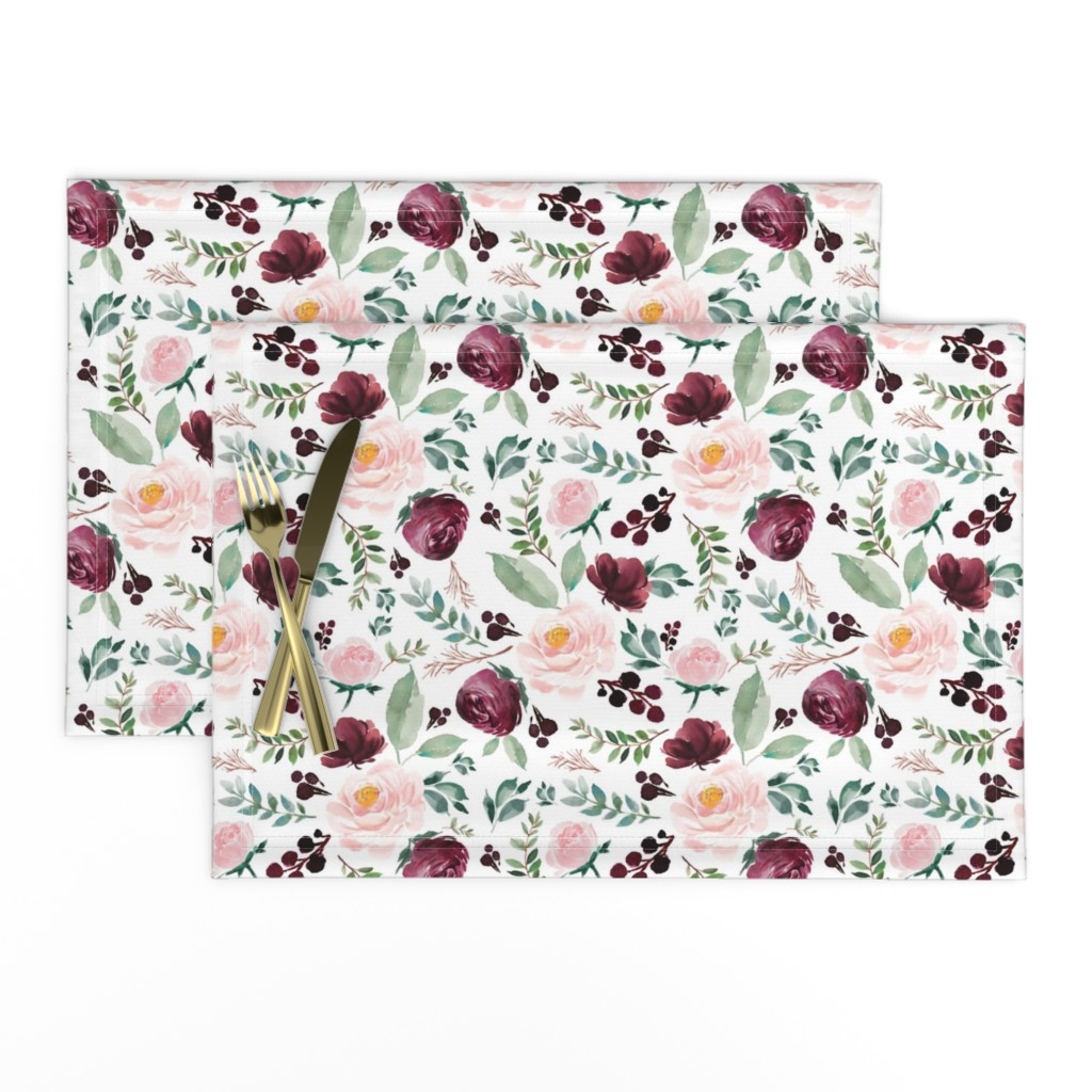 "Lamona Cloth Placemats featuring 8"" Wild at Heart Florals / White by shopcabin"